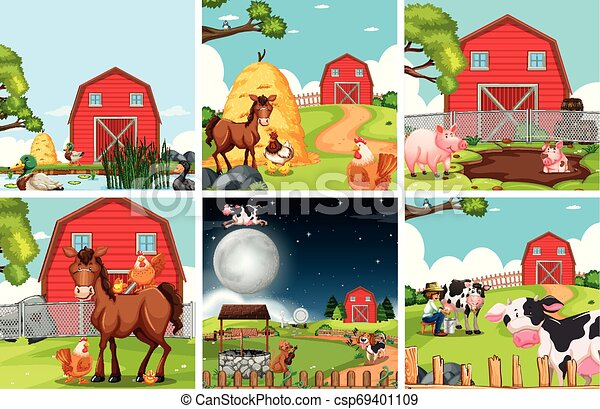Set of farmland landscape - csp69401109