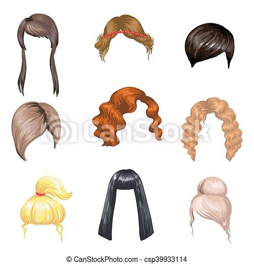 Set of fashion female hair styles. - csp39933114