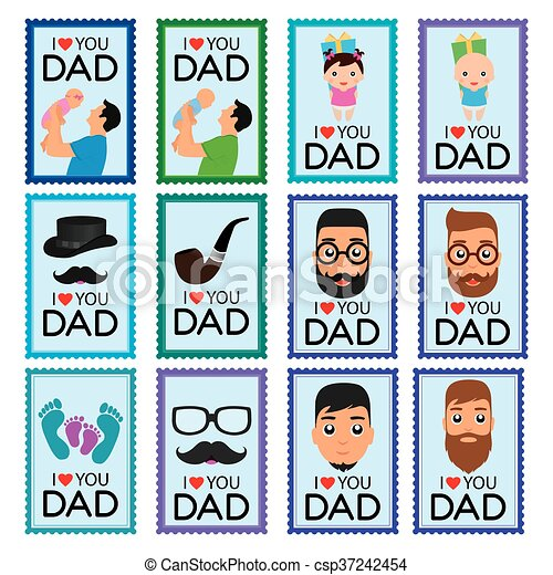 Set of father's day stickers - csp37242454