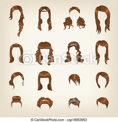 Set of female brown hair - csp18953953