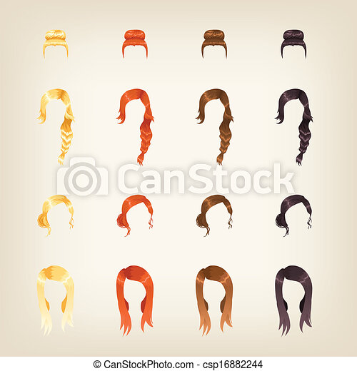 Set of female hair - csp16882244