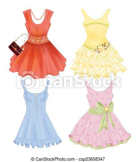 set of festive dresses for girls - csp23658347