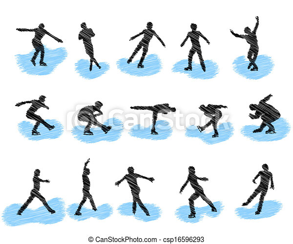 Set of figure skating grunge silhouettes - csp16596293