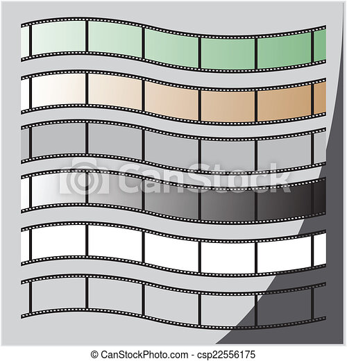 set of film strip with a wave vector illustration - csp22556175