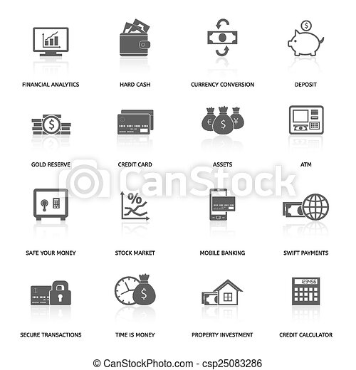 Set of finance and money icons - csp25083286