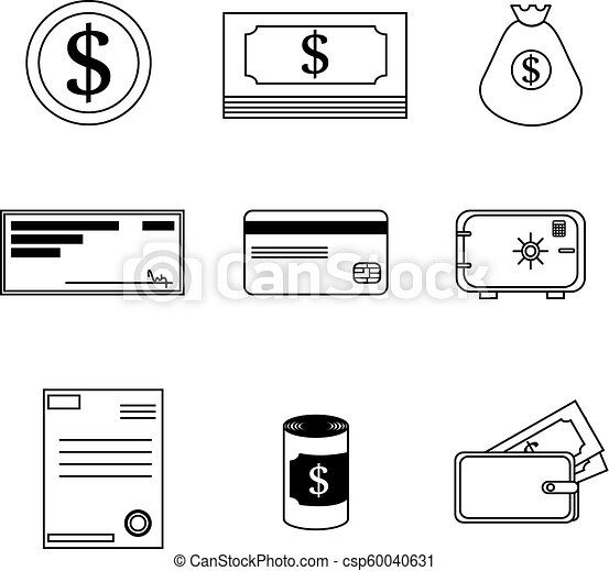 set of financial icons in black and white design