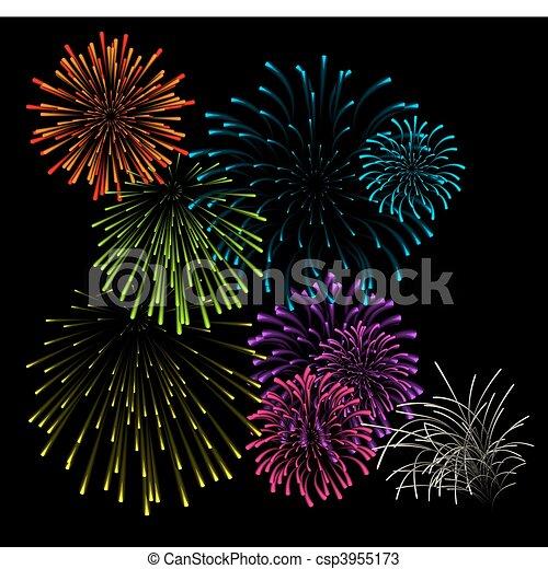 Set of fireworks vector illustrations - csp3955173