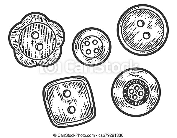Set of five buttons. Apparel print design. Scratch board imitation. Black and white hand drawn image. - csp79291330
