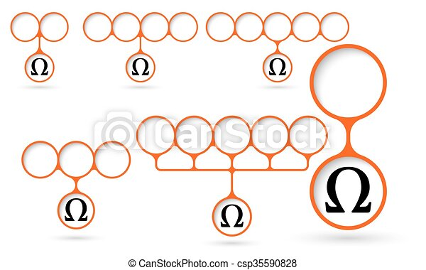Set Of Five Object With Circular Text Areas And Omega Symbol