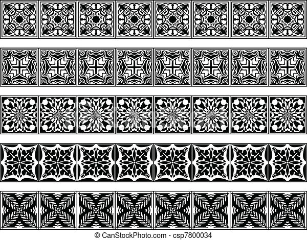 Line Art Vector Illustrator : Set of five vector art deco borders may be used as eps