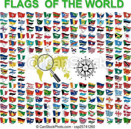 Set of Flags of world sovereign states. Vector illustration - csp25741260