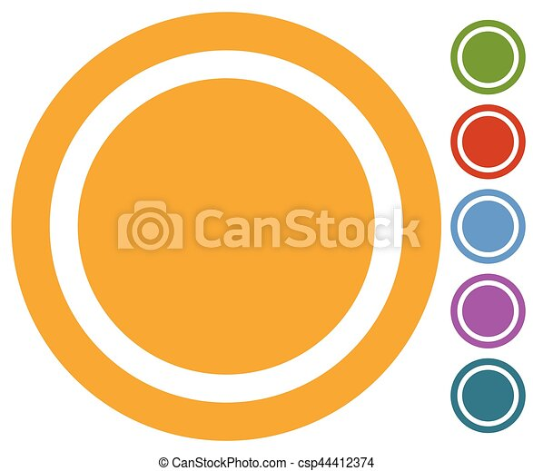 Set of flat button, badge icon in 6 colors - csp44412374
