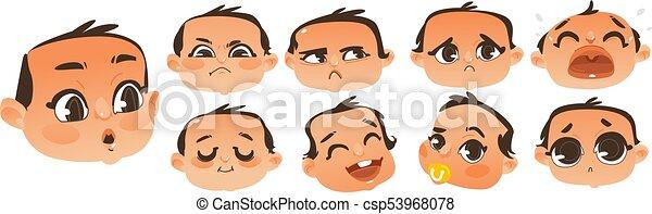 set of flat comic baby boy emoticon emoji set set of expressive