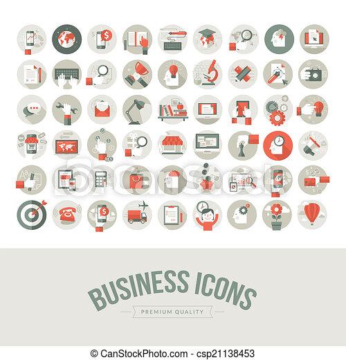 Set of flat design business icons - csp21138453