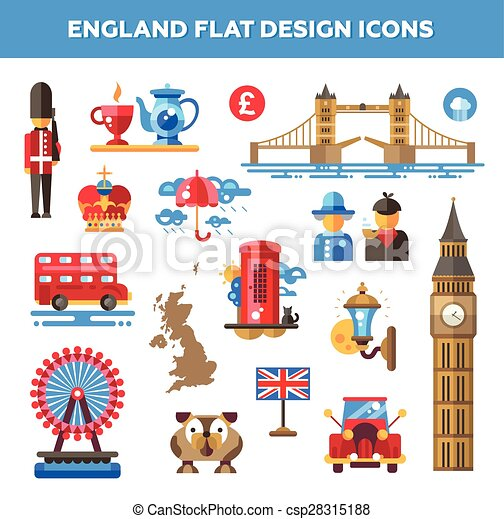 3b561ee73480b Set of flat design england travel icons