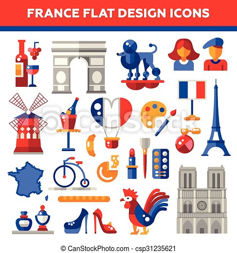 set of flat design france travel icons infographics vector rh canstockphoto ie French Poodle Clip Art French Poodle Clip Art