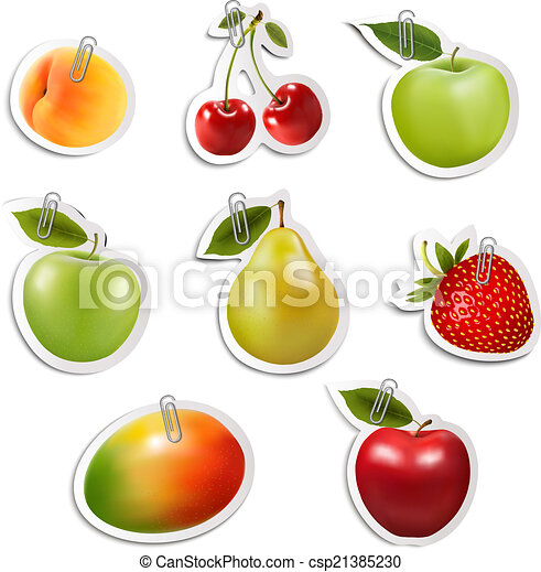 Set of flat fruit stickers with paper clips. Vector. - csp21385230