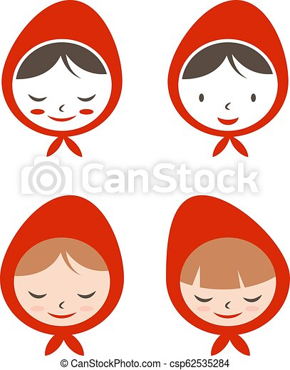 Set of flat icon girl in red hat. Vector illustration - csp62535284