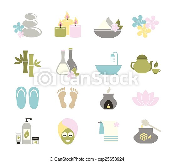 set of flat icons for spa.  - csp25653924