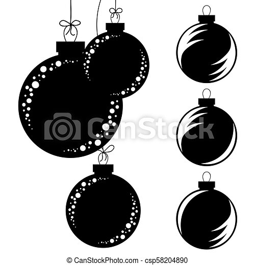 Hanging Christmas Ornaments Silhouette.Set Of Flat Isolated Black And White Silhouettes Of Christmas Toys Balls On A White Background Hanging On The Rope With A Bow