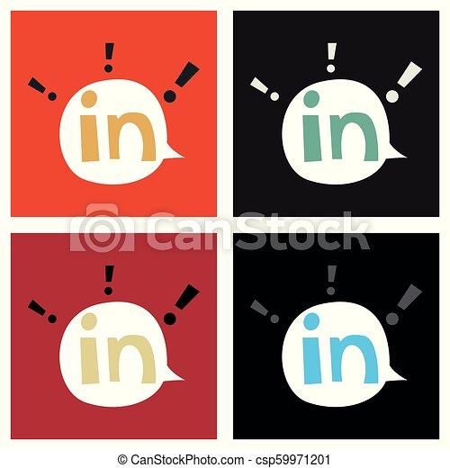 Set Of Flat Linkedin Color Icon Glossy App Icon Logo Vector