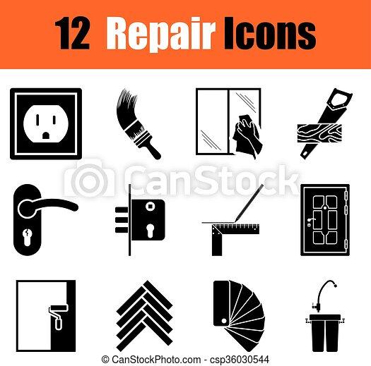 Set of flat repair icons - csp36030544