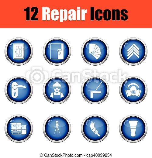 Set of flat repair icons. Vector illustration - csp40039254