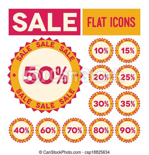 Set of flat sale labels - csp18825634