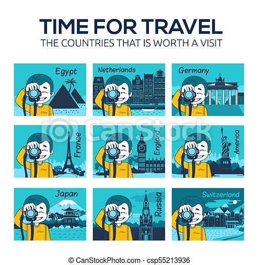 Set of flat travel icons . Countries, landmarks - csp55213936