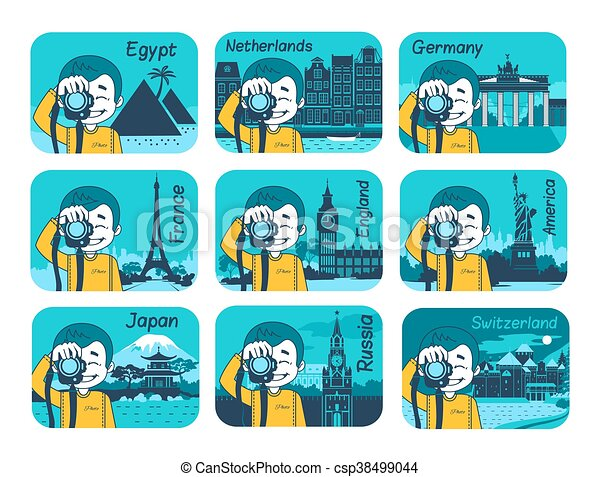 Set of flat travel icons with different countries. - csp38499044