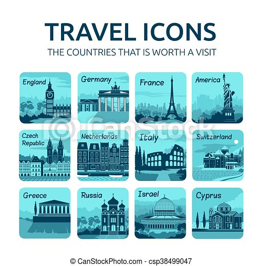 Set of flat travel icons with different countries. - csp38499047