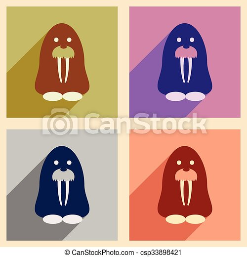 Set of flat web icons with long shadow walrus - csp33898421