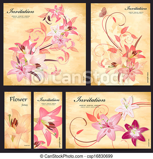 Set of floral cards for your design - csp16830699