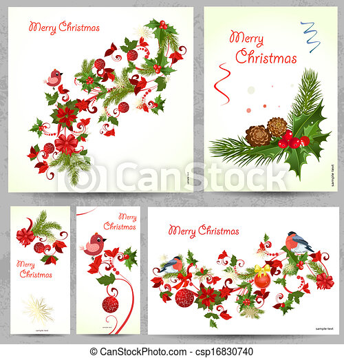 Set of floral cards for your design - csp16830740