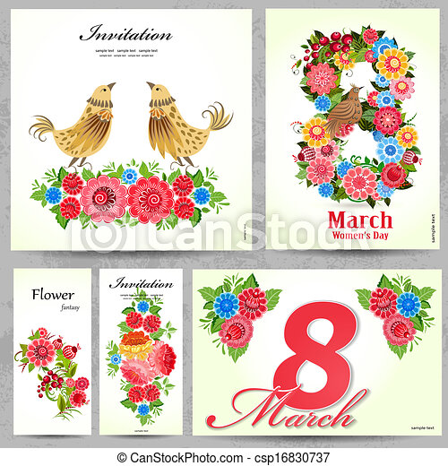 Set of floral cards for your design - csp16830737
