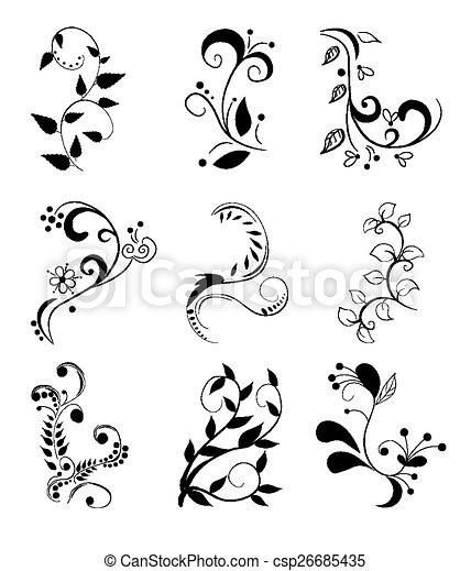Set of floral elements - csp26685435