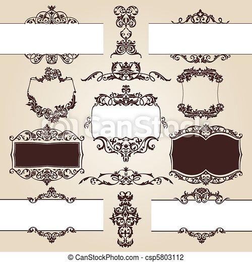 set of floral elements - csp5803112
