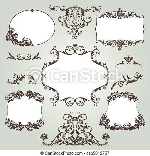 set of floral elements - csp5812757