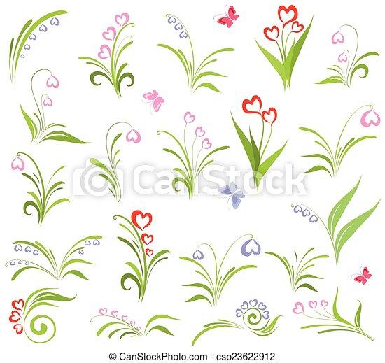 Set of floral elements - csp23622912