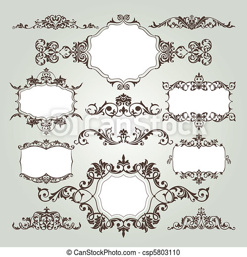 set of floral elements - csp5803110