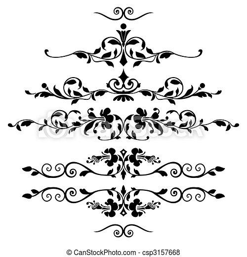 Set of floral ornaments - csp3157668