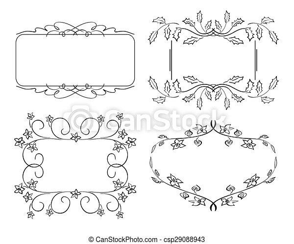 set of floral vector frames - csp29088943