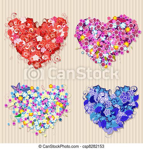 Set of floral vintage valentines - csp8282153