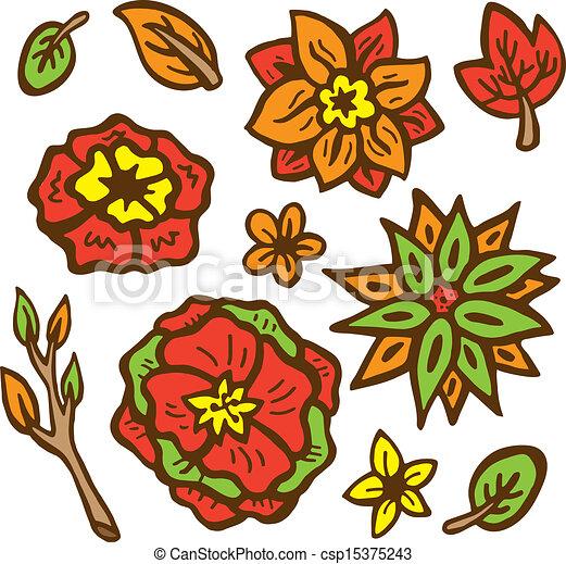 set of flower doodle - csp15375243