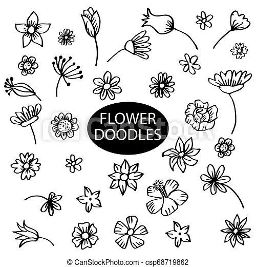Set of flower doodles - csp68719862