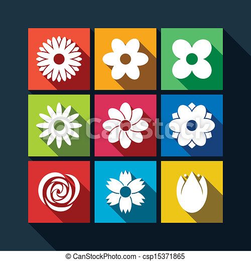 Set of flower icons with long shadow - csp15371865