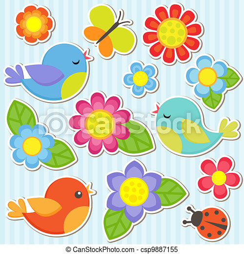 Set of flowers and birds - csp9887155