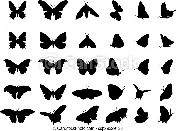 Set of flying butterfly silhouette, isolated vector object - csp29329133