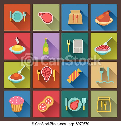 set of food icons in flat design - csp18979670