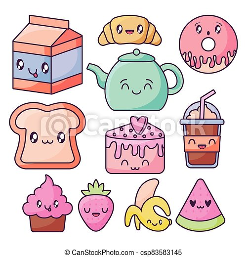 set of food icons in kawaii style - csp83583145